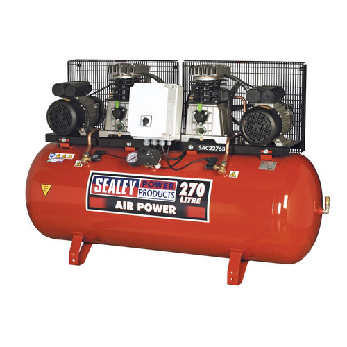 Sealey SAC2276B 270ltr Belt Drive Compressor 2 X 3hp With Cast Cylinders