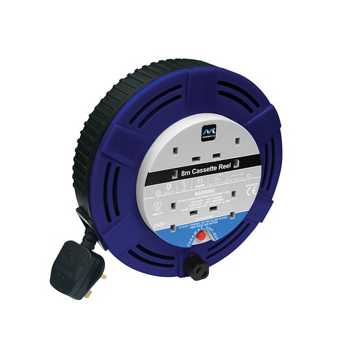 Masterplug MCT0813/4R Cassette Cable Reel 8 Metre 4 Socket Thermal Cut-Out Red 13A 240 Volt