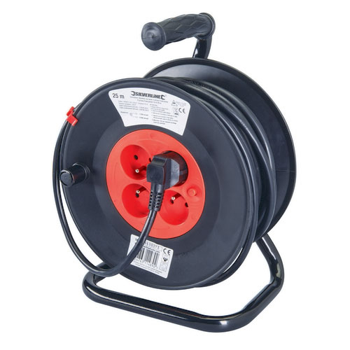 Silverline 197525 European Cable Reel 230V Freestanding 16A 25m 4 Sockets (CEE 7/5)