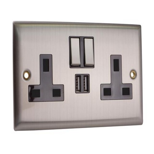 SMJ PPSK2USB-BS Switched Socket 2-Gang 13A with 2 x USB Brushed Steel