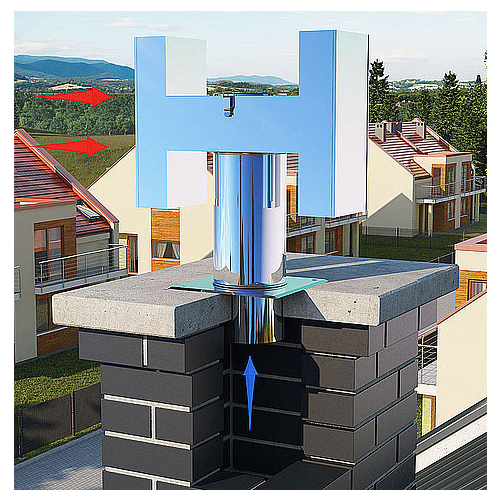 100mm H-type Chimney Cowl Exhaust Draught Ending Stainless Steel