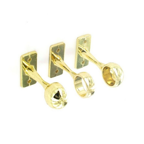 Securit S5558 1 Centre And 2 End Brackets Brass Plated 19mm Pack Of 1 + 2