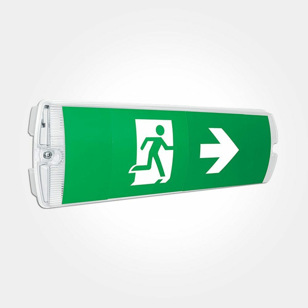 Red Arrow IP65 LED Emergency Light Bulkhead Exit Sign -Maintained/Non-Maintained