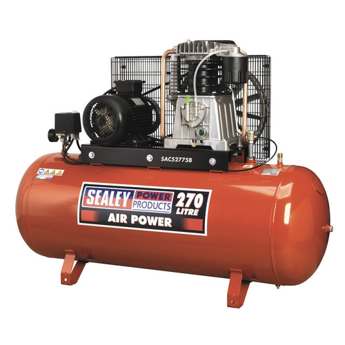 Sealey SAC52775B 270ltr Belt Drive Compressor 7.5hp 3ph 2-Stage With Cast Cylinders