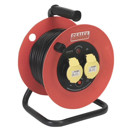 Sealey CR12515 25mtr Heavy-Duty Cable Reel With Thermal Trip - 2 X 110V