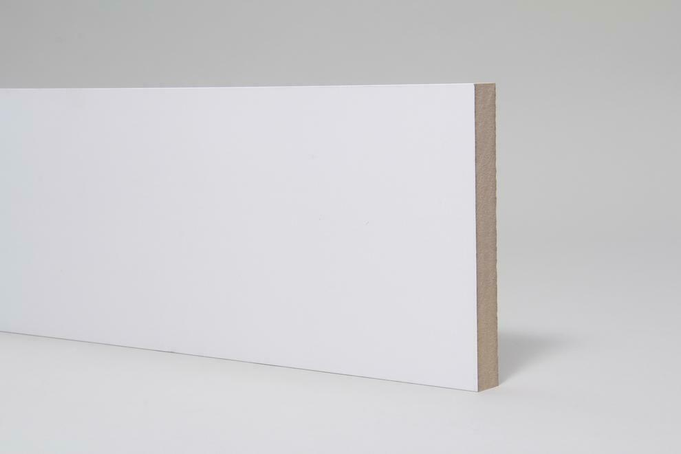 White Pre-primed Square Edge MDF Architrave/Skirting Board 18mm Thick Various Heights