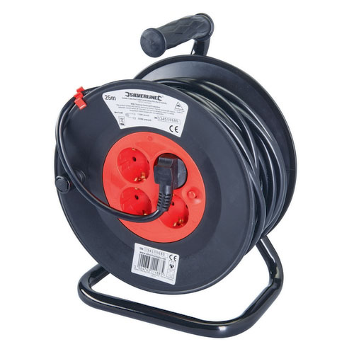 Silverline 197277 European Schuko Cable Reel 230V Freestanding 16A 25m 4 Sockets (CEE 7/4)