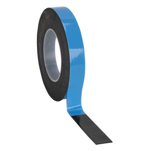 Sealey DSTB195 Double-Sided Adhesive Foam Tape 19mm X 5 Metre Blue Backing