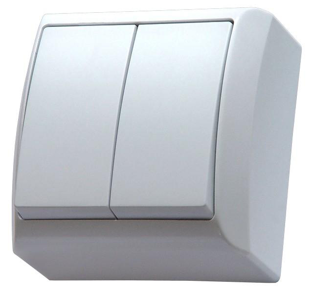 Surface Mounted Double Big Button Indoor Light Switch Click Wall Plate White
