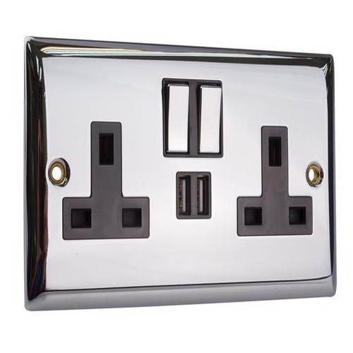 SMJ PPSK2USB-CH Switched Socket 2-Gang 13A With 2 X USB Chrome