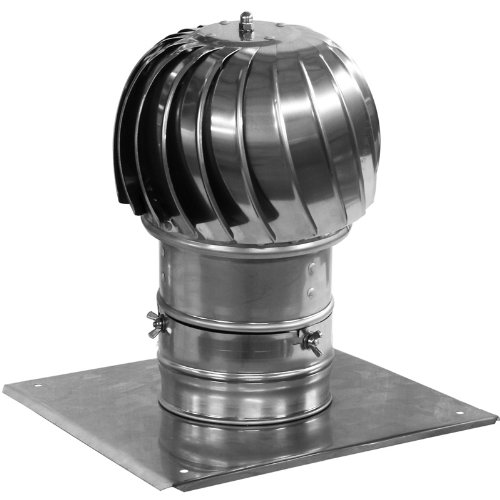 Chimney Flue Cowl Spinner Stainless Steel Plug-in Spinning Cowl 130mm Diameter With Extra Roof Plate