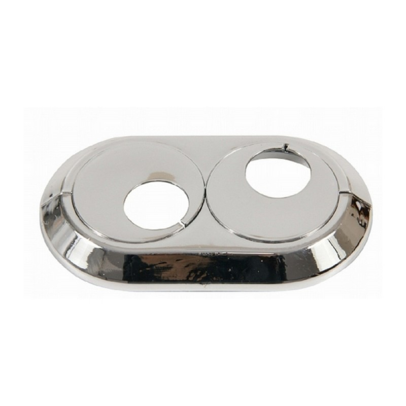 18mm Double Pipe Cover Chrome PVC Radiator Plastic Water Collar Rose