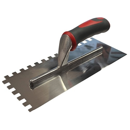 Faithfull FAISGTNOT10S Notched Trowel Serrated 10mm Stainless Steel Soft-Grip Handle 13 X 4.1/2in