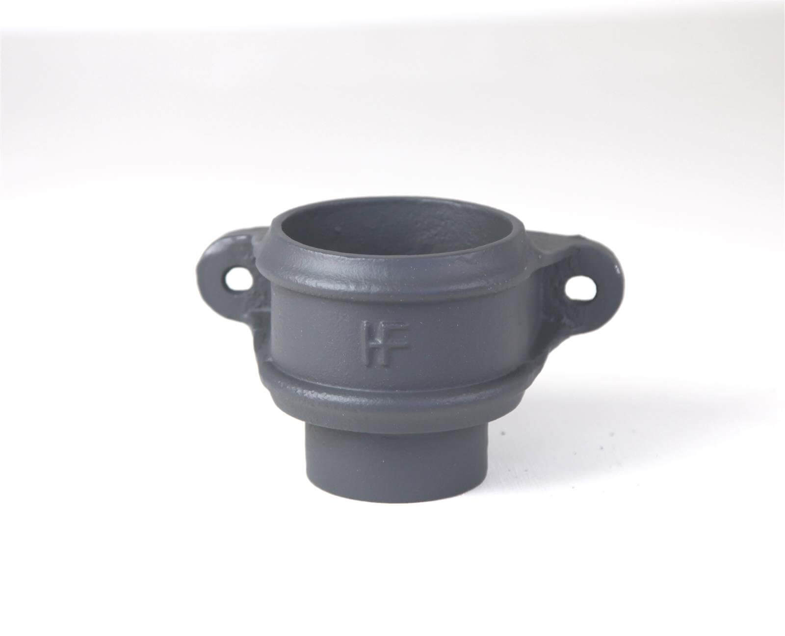 Cast Iron Round Downpipe Eared Loose Socket with Spigot - 65mm Primed