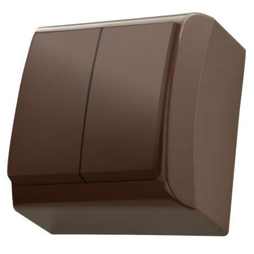 Surface Mounted Double Big Button Indoor Light Switch Click Wall Plate Brown