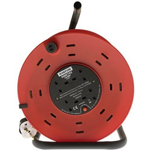 Extension Cable Reel 25 Metre 240V 13 Amp 4 Socket With Cut Out