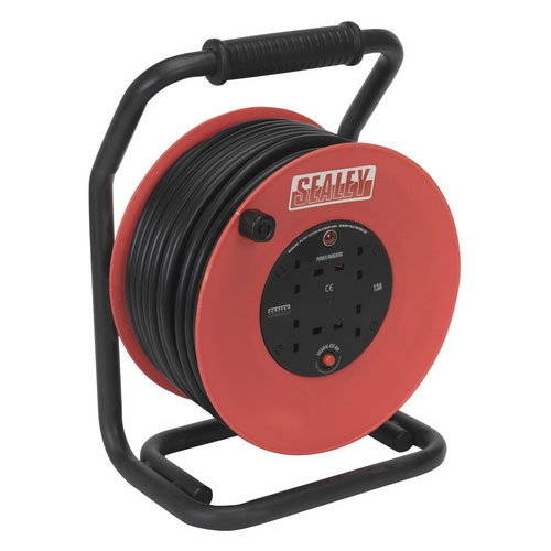 Sealey CR25025 50mtr Heavy-Duty Cable Reel With Thermal Trip - 230V