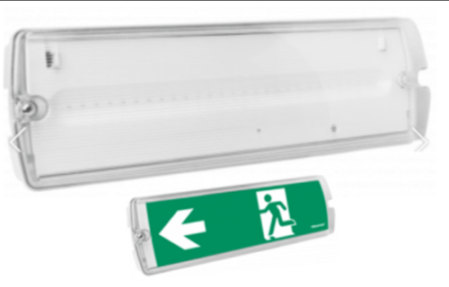 PACK DISCOUNT- MEGAMAN IP65 LED EMERGENCY LIGHT BULKHEAD EXIT SIGN -Maintained/Non-Maintained