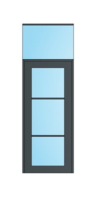 0.9m Door Module: Single glazed 10.8mm Acoustic Laminated Banded Glass & Stile Door with Overpanel