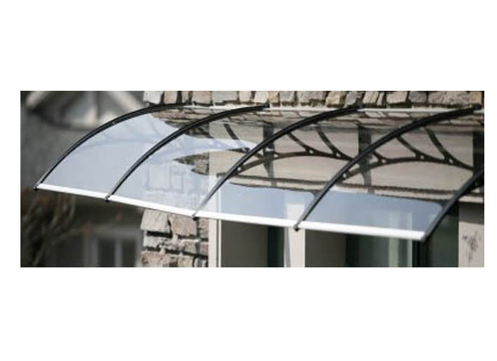 Vista Canopy with Clear 3mm Solid Polycarbonate Glazing - 2400mm x 1000mm Black
