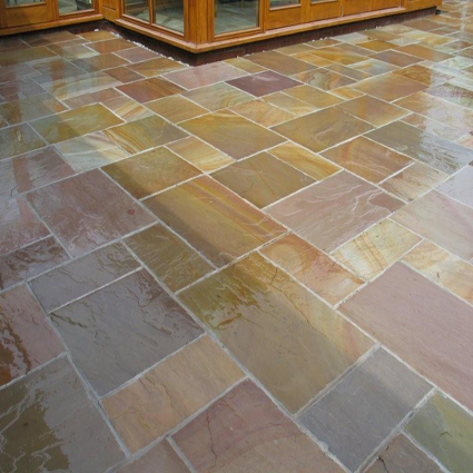Rippon Buff/Grey/Pink Indian Sandstone Natural Calibrated Patio Paving Slabs Pack 18.80m2 - 22mm Thick