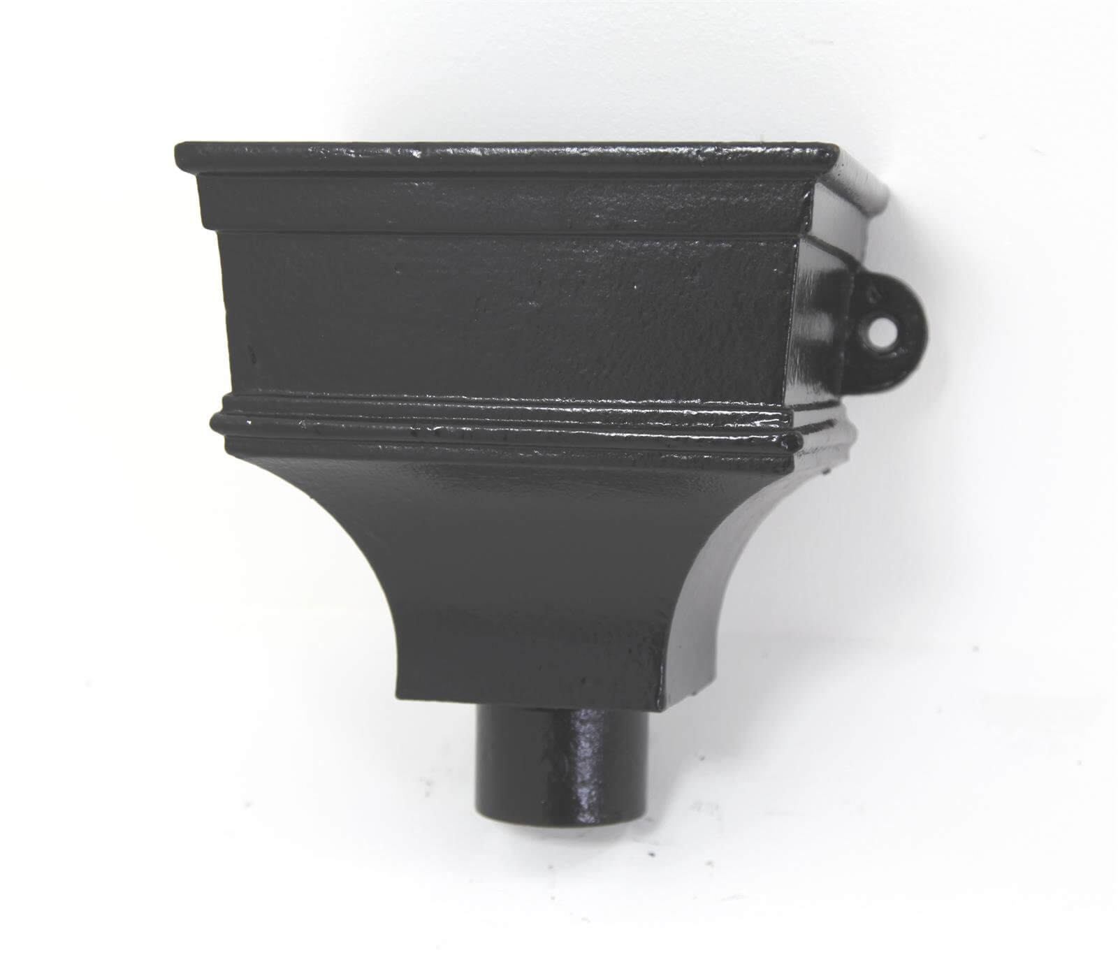Cast Iron Round Downpipe Hopper Head Traditional Shallow Eared Outlet - 65mm Black
