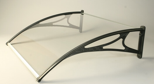 Miento Canopy With Clear 3mm Solid Polycarbonate Glazing - 1000mm x 700mm Aluminium Finish