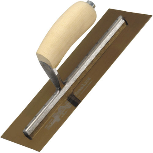 Marshalltown MXS1GS Finishing Trowel Gold Stainless Steel 11inch X 4.1/2inch Shaped Wooden Handle