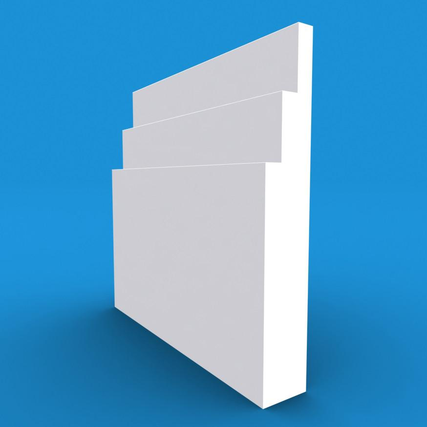 Large Stepped MDF White Primed Skirting Board 4200mm x 95mm x 18mm