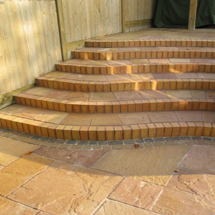Golden Brown Indian Sandstone Natural Calibrated Patio Paving Slabs Pack 15.5m2 - 22mm
