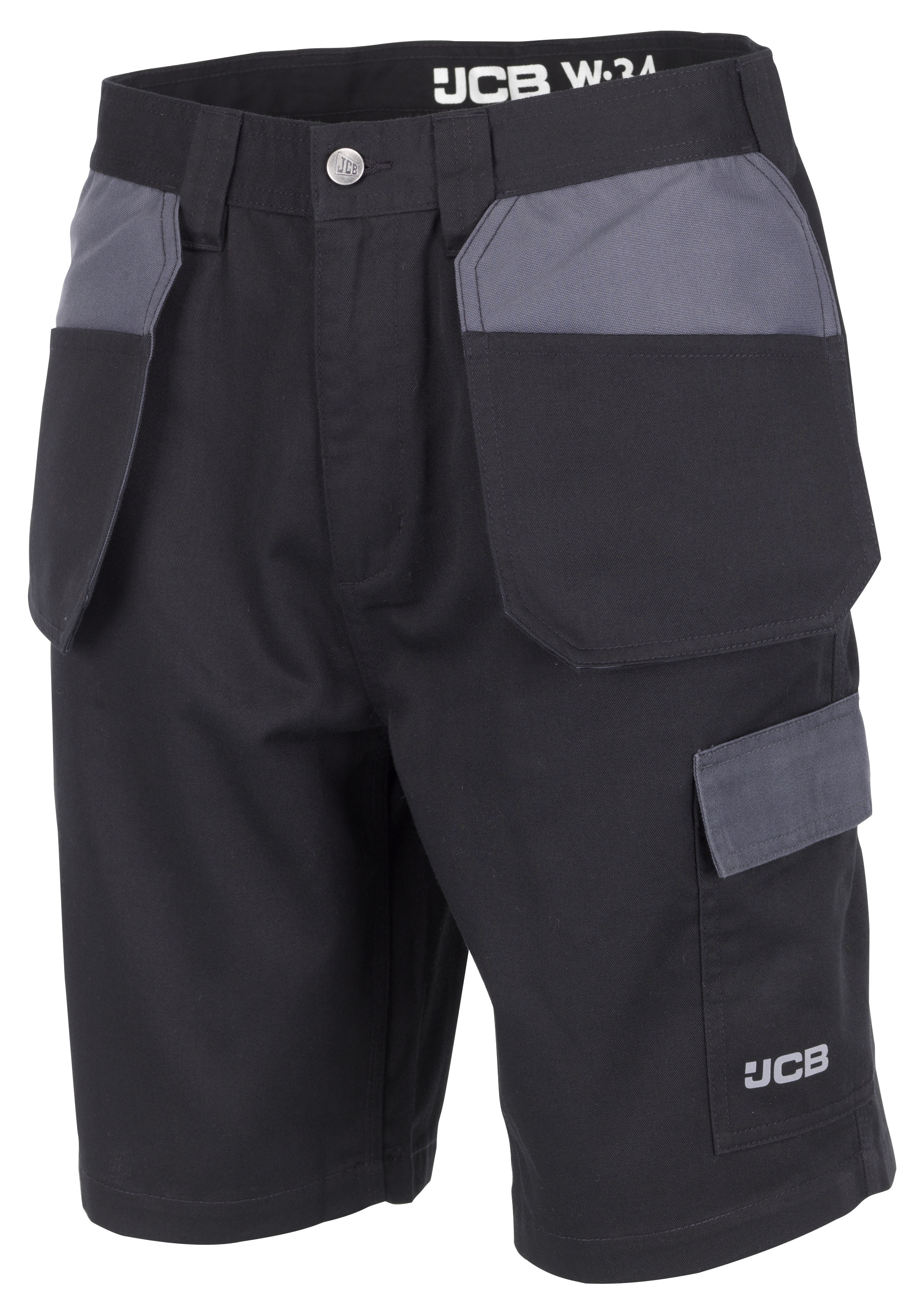 JCB Trade Plus Work Shorts With Multiple Pockets Black & Grey