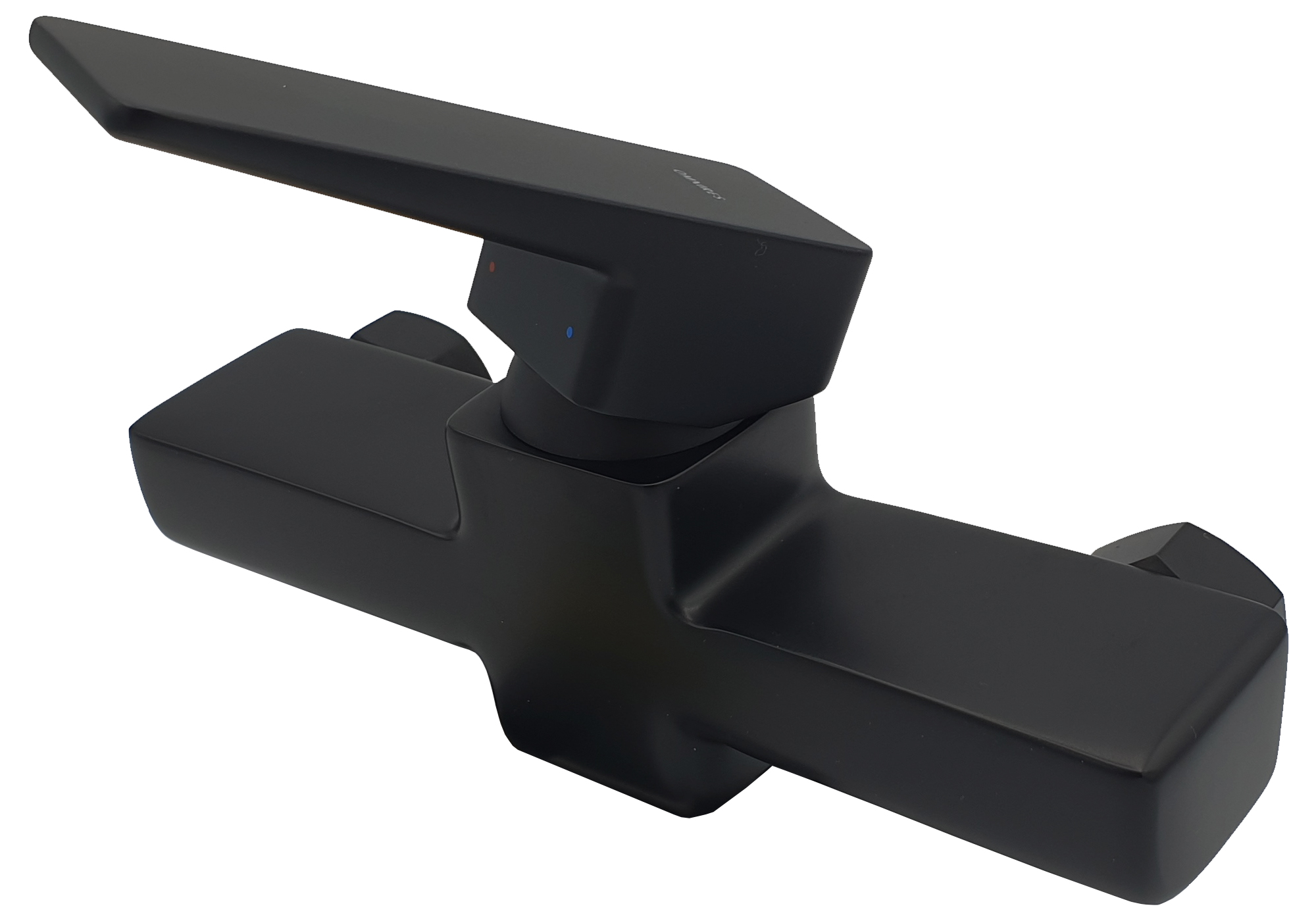 Black Shower Mixer Tap Wall Mounted Rectangle Shaped Single Lever Faucet