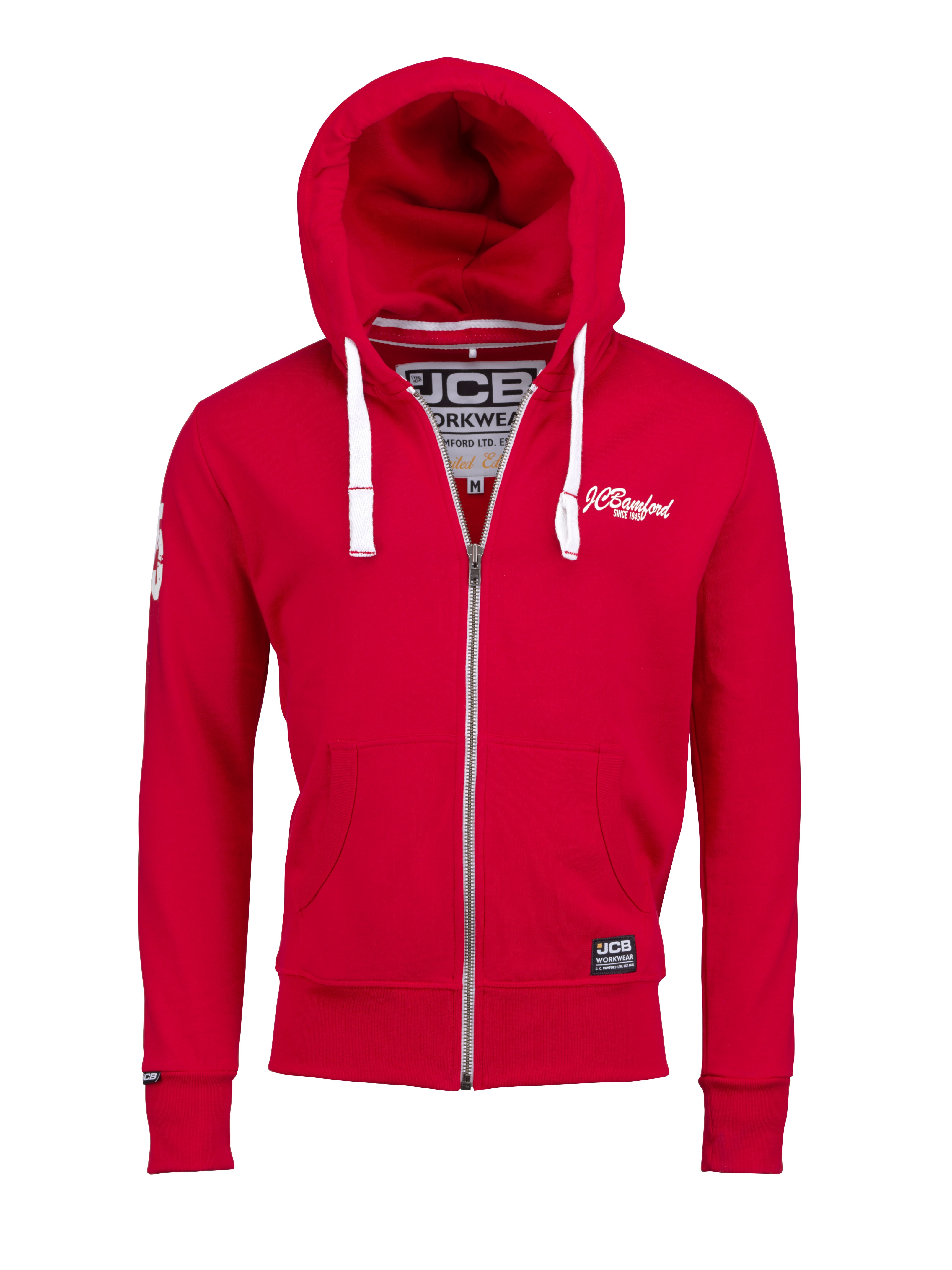 JCB Limited Edition Hoodie Red Work Hooded Jumper