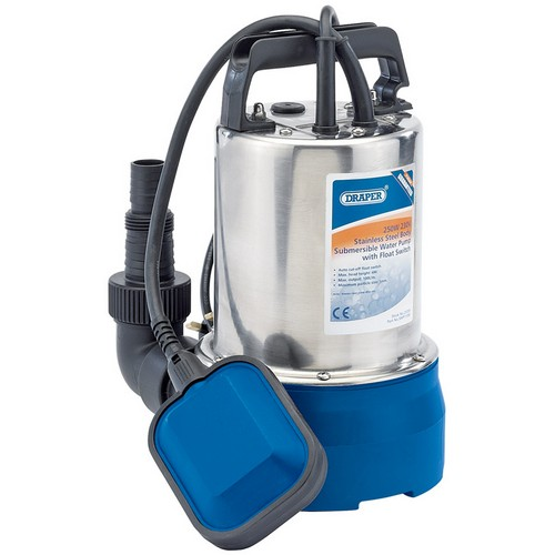 Draper 25359 100L/Min 250W Stainless Steel Submersible Water Pump With Float