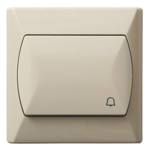 Simple Big Button Basic Reactive Push Release Door Bell Switch Plate Beige