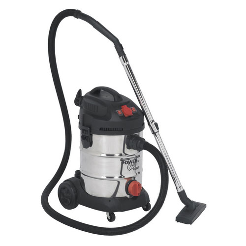 Sealey PC300SDAUTO 30ltr Wet & Dry Industrial Vacuum Cleaner 1400W With Stainless Bin & Auto Start