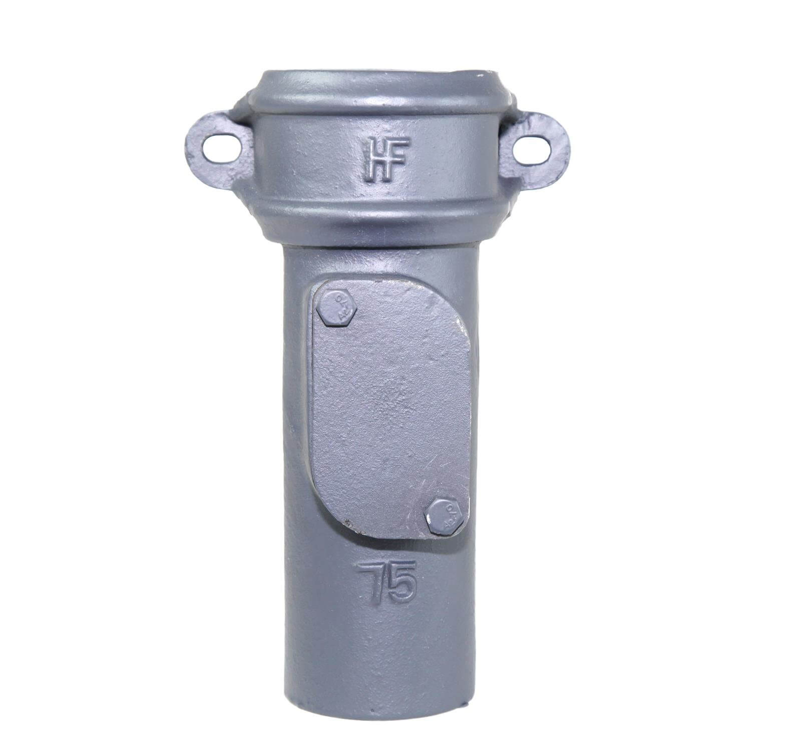Cast Iron Round Downpipe Eared Access Pipe - 100mm Primed