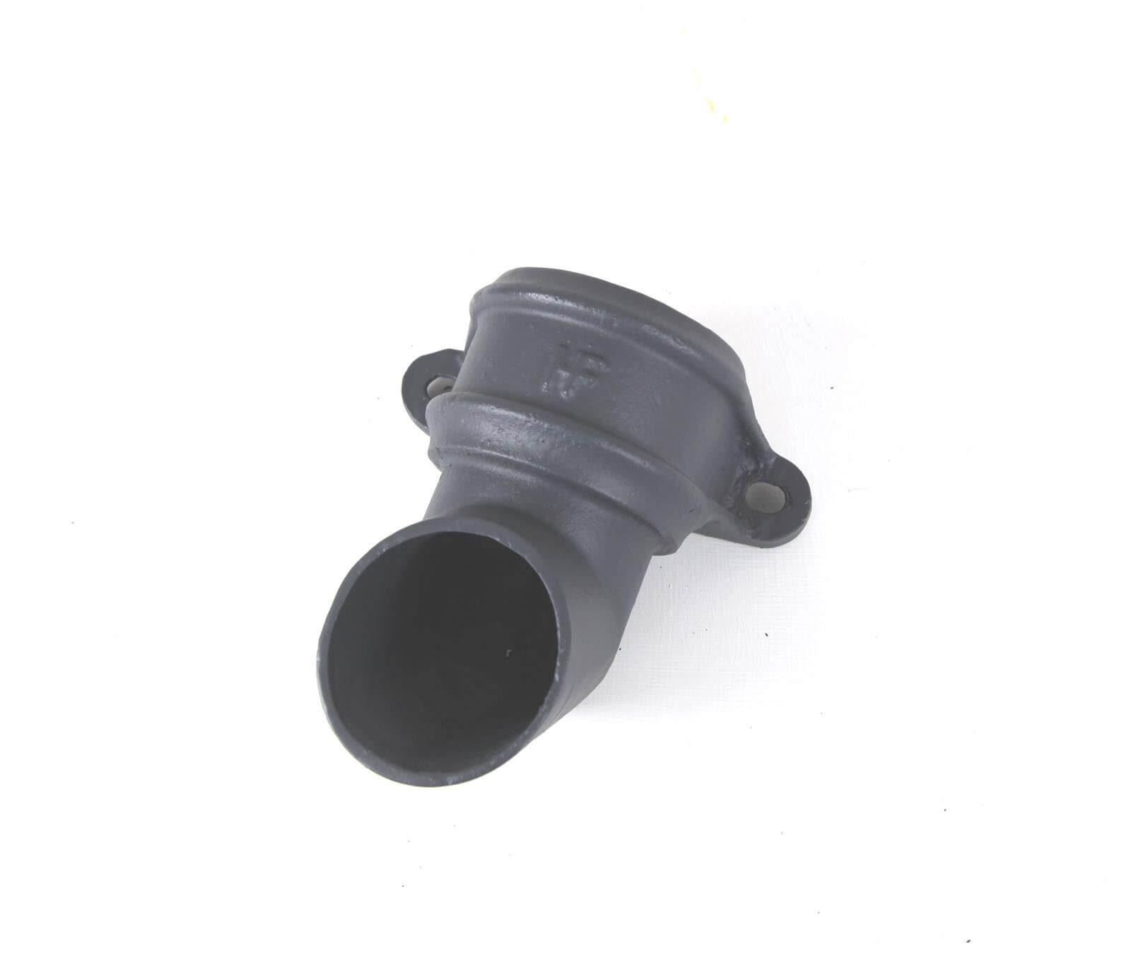 Cast Iron Round Downpipe Eared Shoe - 65mm Primed
