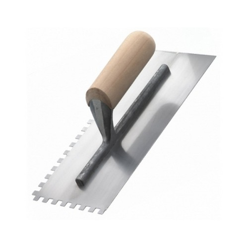 RST RTR6258 Square Notched 7mm Trowel Wooden Handle 11inch X 4.1/2inch