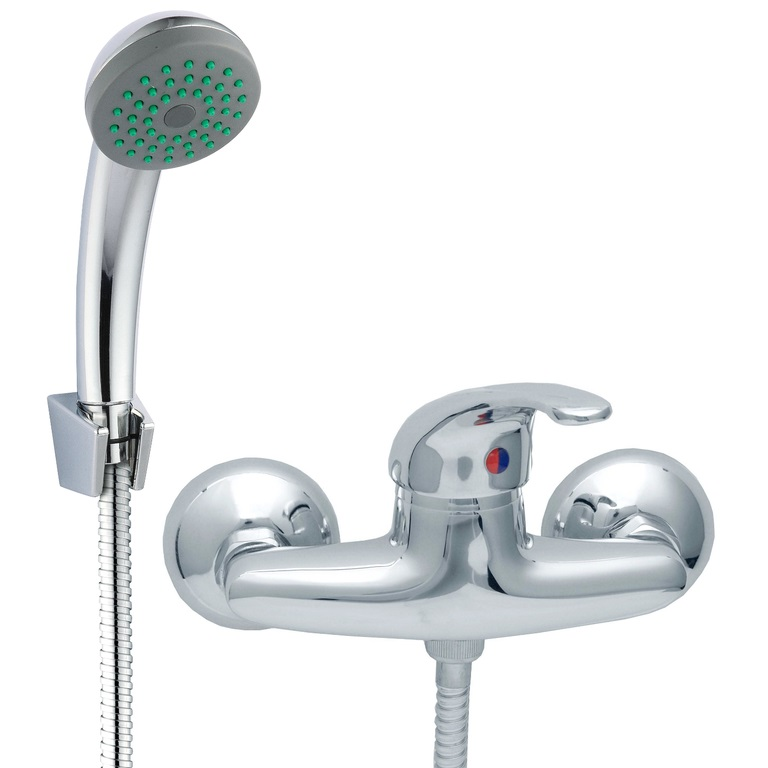 Chrome Bathroom Mixer Shower Kit Set Wall Mounted Showering Faucet with Handle