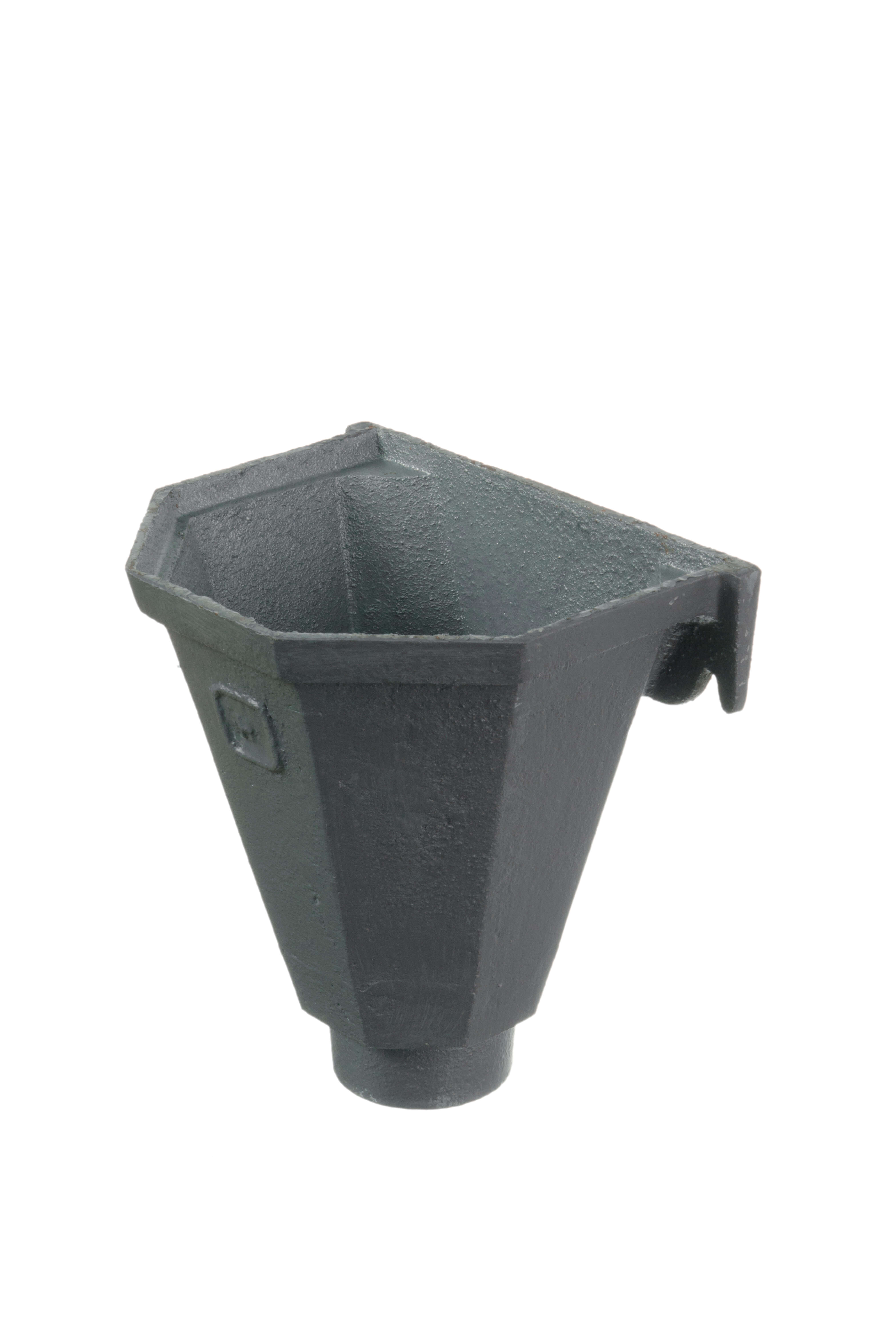 Cast Iron Round Downpipe Hopper Head Flat Back Outlet - 75mm Primed