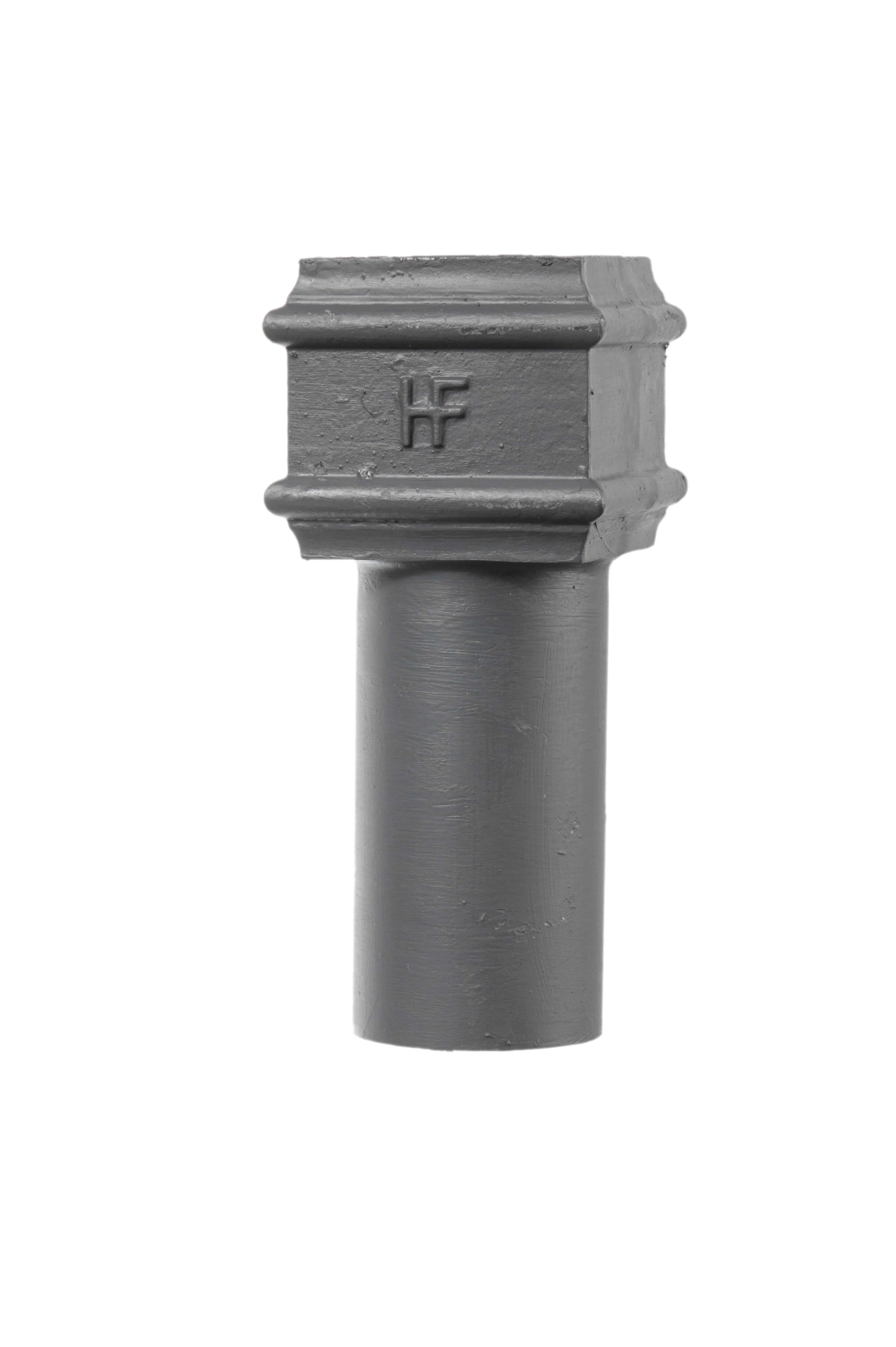 Cast Iron Square to Round Gutter Connector - 75mm Primed