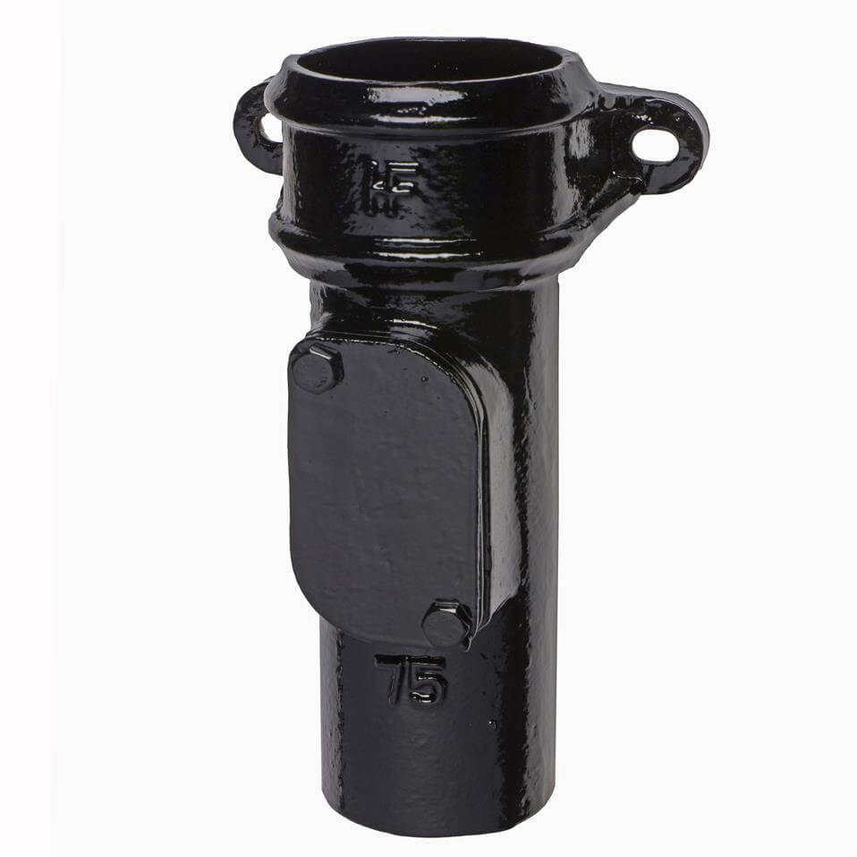 Cast Iron Round Downpipe Eared Access Pipe - 75mm Black