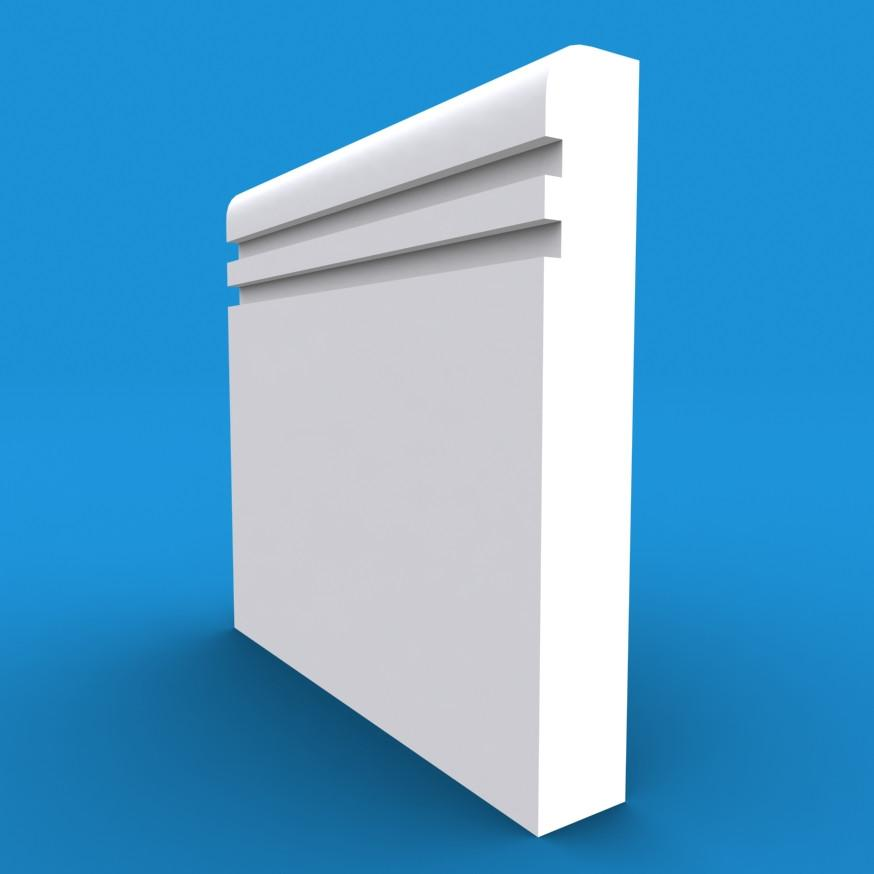 Bullnose Grooved 2 MDF Architrave White Primed 42000mm x 70mm x 18mm