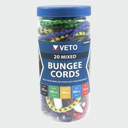 Veto BUNMIX20 20 Pcs Mixed Set Bungee Cord Pack Of 20