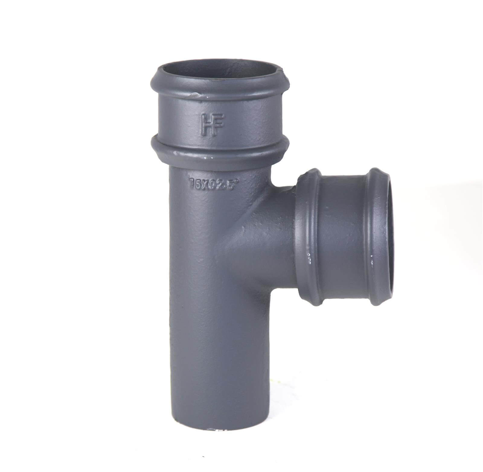 Cast Iron Round Downpipe Branch - 92.5 Degree x 100mm Primed