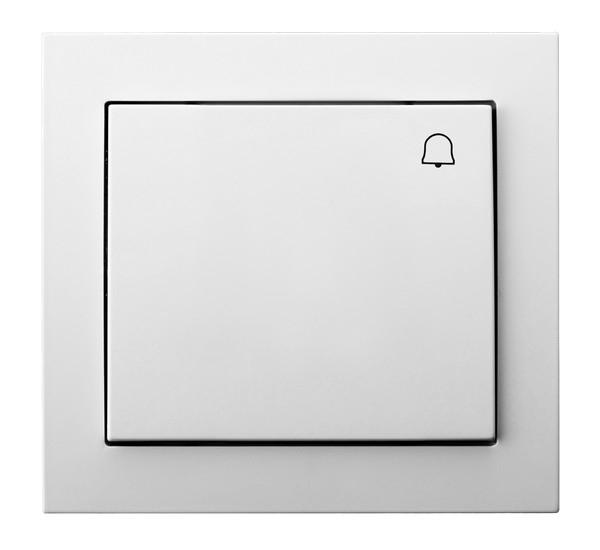 White Button Reactive Push Release Door Bell Switch Plate