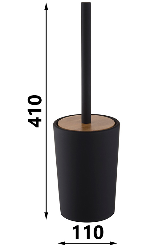 Free Standing Bathroom Black Stoneware Cup + Toilet Cleaning Brush Clean WC
