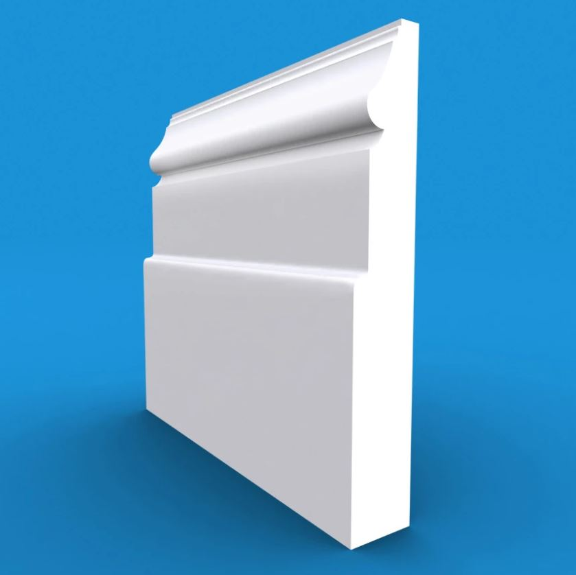 Victorian MDF White Primed Skirting Board 4200mm x 95mm x 18mm