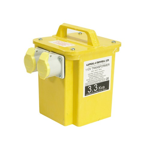 Carroll & Meynell 3300/2 Transformer Twin Outlet Rating 3.3Kva Continuous 1.65kva